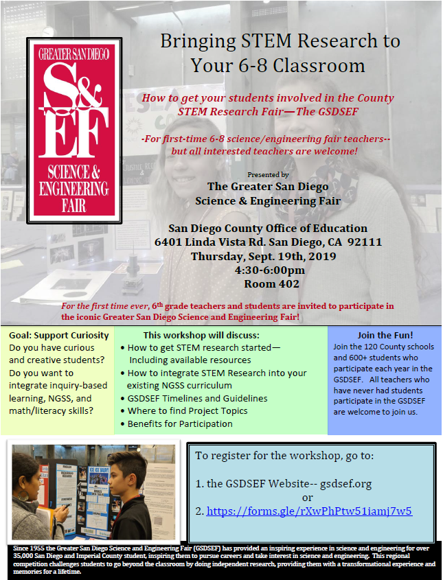 Welcome to GSDSEF | Greater San Diego Science and